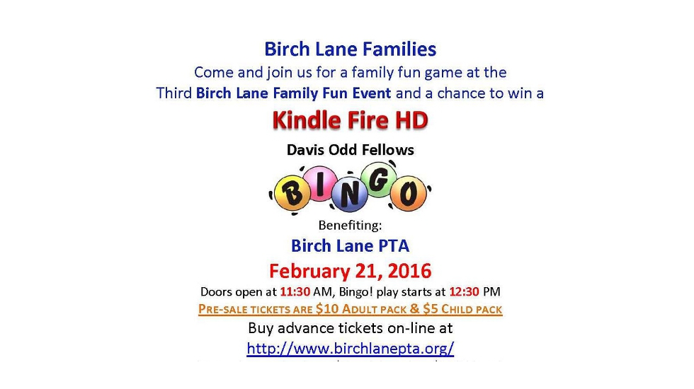 Family Fun Event – BINGO – 2/21