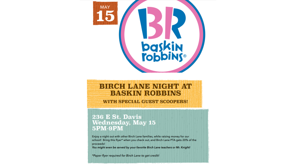 Baskin Robbins Fundraiser – May 15th