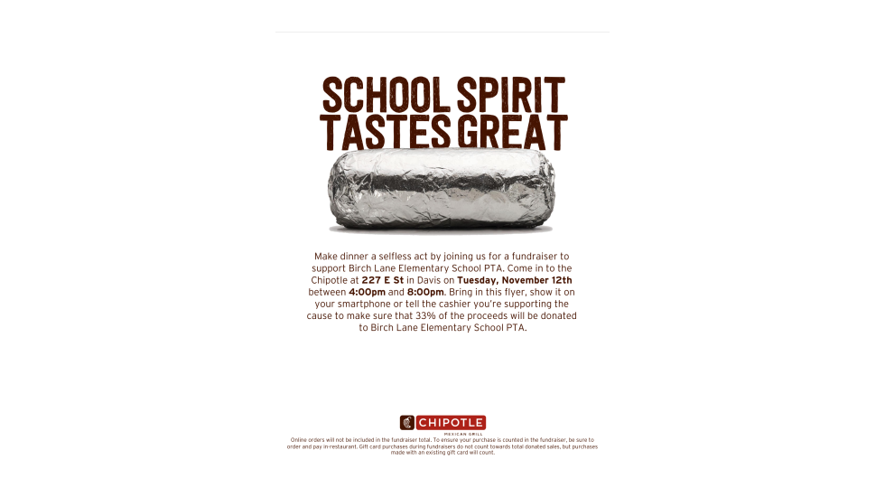 Chipotle Birch Lane Fundraiser