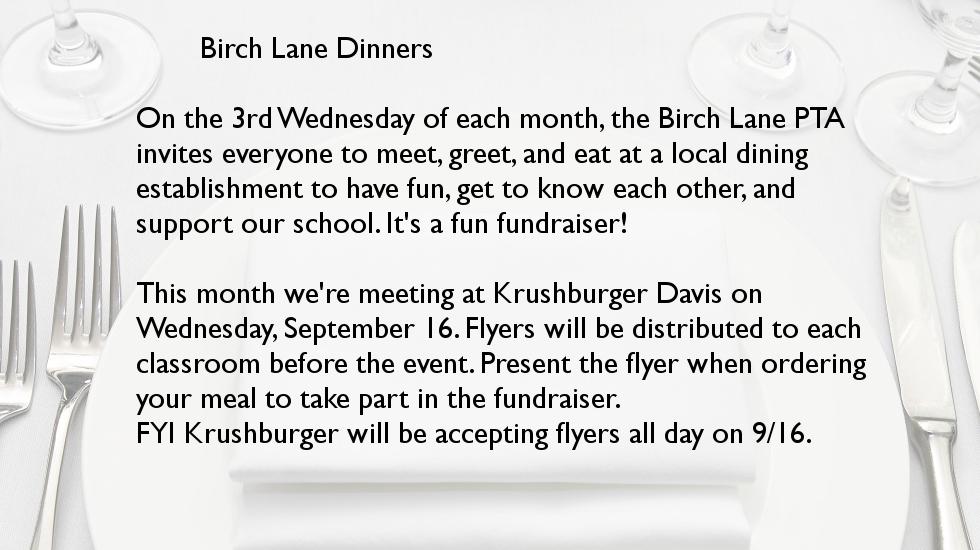 September Birch Lane Dinner @ Krushburger