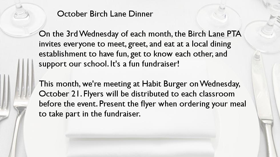 October Birch Lane Dinner @ Habit Burger