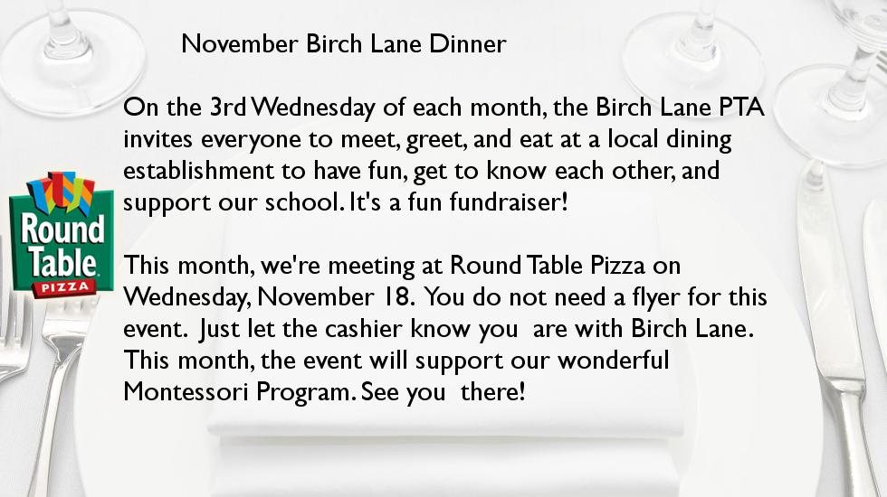 November Birch Lane Dinner @ Round Table