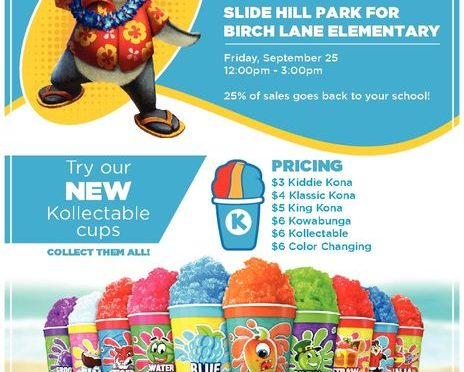 Kona Ice at Slide Hill Park 9/25/20 from 12-3pm